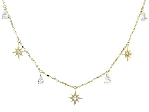 White Cubic Zirconia 18K Yellow Gold Over Sterling Silver Star Station Necklace 1.39ctw