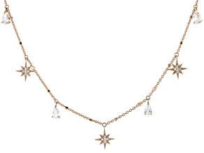 White Cubic Zirconia 18K Rose Gold Over Sterling Silver Star Station Necklace 1.39ctw