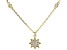 White Cubic Zirconia 18K Yellow Gold Over Sterling Silver Star Pendant With Chain 0.39ctw