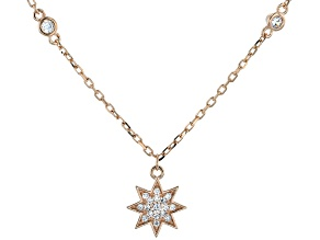 White Cubic Zirconia 18K Rose Gold Over Sterling Silver Star Pendant With Chain 0.39ctw