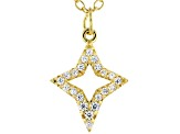 White Cubic Zirconia 18K Yellow Gold Over Sterling Silver Star Pendant With Chain 0.20ctw