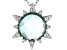 Blue Quartz Doublet And White Cubic Zirconia Rhodium Over Sterling Silver Pendant With Chain 0.26ctw