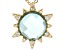 Blue Quartz Doublet And White Cubic Zirconia 18K Yellow Gold Over Silver Pendant With Chain 0.26ctw