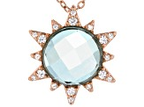 Blue Quartz Doublet And White Cubic Zirconia 18K Rose Gold Over Silver Pendant With Chain 0.26ctw