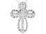 White Cubic Zirconia Rhodium Over Sterling Silver Cross Pendant With Chain 0.21ctw
