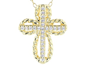 White Cubic Zirconia 18K Yellow Gold Over Sterling Silver Cross Pendant With Chain 0.21ctw