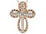White Cubic Zirconia 18K Rose Gold Over Sterling Silver Cross Pendant With Chain 0.21ctw