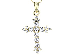 White Cubic Zirconia 18K Yellow Gold Over Sterling Silver Pendant With Chain 1.77ctw