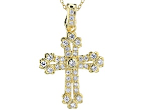 White Cubic Zirconia 18K Yellow Gold Over Sterling Silver Cross Pendant With Chain 1.16ctw