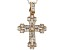 White Cubic Zirconia 18K Rose Gold Over Sterling Silver Cross Pendant With Chain 1.16ctw