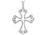 White Cubic Zirconia Rhodium Over Sterling Silver Cross Pendant With Chain 1.17ctw