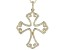 White Cubic Zirconia 18K Yellow Gold Over Sterling Silver Cross Pendant With Chain 1.17ctw