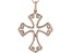 White Cubic Zirconia 18K Rose Gold Over Sterling Silver Cross Pendant With Chain 1.17ctw