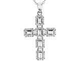 White Cubic Zirconia Rhodium Over Sterling Silver Cross Pendant With Chain 2.10ctw