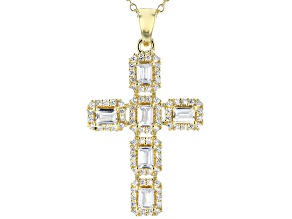 White Cubic Zirconia 18K Yellow Gold Over Sterling Silver Cross Pendant With Chain 2.10ctw