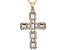 White Cubic Zirconia 18K Rose Gold Over Sterling Silver Cross Pendant With Chain 2.10ctw