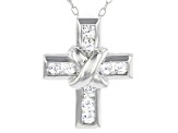 White Cubic Zirconia Rhodium Over Sterling Silver Cross Pendant With Chain 0.52ctw