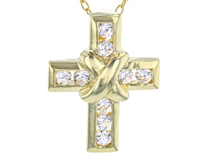 White Cubic Zirconia 18K Yellow Gold Over Sterling Silver Cross Pendant With Chain 0.52ctw