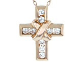 White Cubic Zirconia 18K Rose Gold Over Sterling Silver Cross Pendant With Chain 0.52ctw