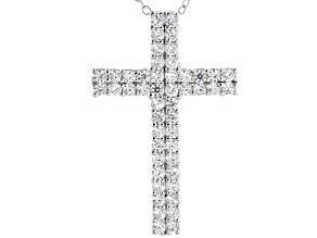 White Cubic Zirconia Rhodium Over Sterling Silver Cross Pendant With Chain 1.98ctw