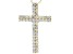 White Cubic Zirconia 18K Yellow Gold Over Sterling Silver Cross Pendant With Chain 1.98ctw