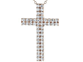 White Cubic Zirconia 18K Rose Gold Over Sterling Silver Cross Pendant With Chain 1.98ctw
