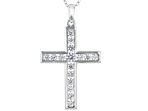 White Cubic Zirconia Rhodium Over Sterling Silver Cross Pendant With Chain 1.45ctw