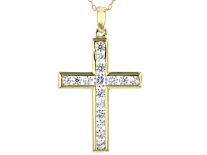 White Cubic Zirconia 18K Yellow Gold Over Sterling Silver Cross Pendant With Chain 1.45ctw