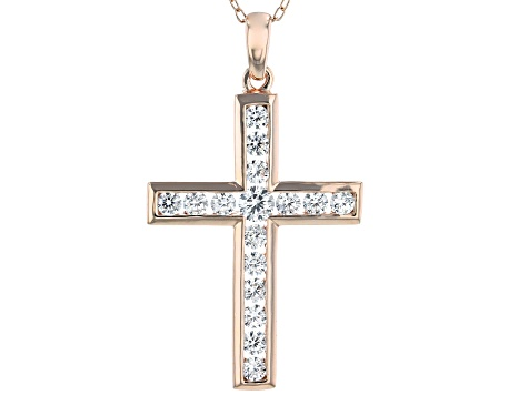 White Cubic Zirconia 18K Rose Gold Over Sterling Silver Cross Pendant With Chain 1.45ctw
