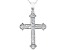 White Cubic Zirconia Rhodium Over Sterling Silver Cross Pendant With Chain 1.72ctw