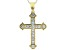White Cubic Zirconia 18K Yellow Gold Over Sterling Silver Cross Pendant With Chain 1.72ctw