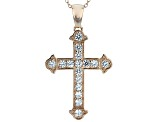 White Cubic Zirconia 18K Rose Gold Over Sterling Silver Cross Pendant With Chain 1.72ctw