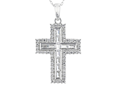 White Cubic Zirconia Rhodium Over Sterling Silver Cross Pendant With Chain 2.09ctw