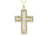 White Cubic Zirconia 18K Yellow Gold Over Sterling Silver Cross Pendant With Chain 2.09ctw