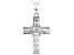 White Cubic Zirconia Rhodium Over Sterling Silver Cross Pendant With Chain 1.93ctw