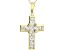 White Cubic Zirconia 18K Yellow Gold Over Sterling Silver Cross Pendant With Chain 1.93ctw