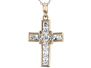 White Cubic Zirconia 18K Rose Gold Over Sterling Silver Cross Pendant With Chain 1.93ctw