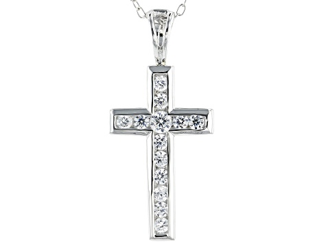 White Cubic Zirconia Rhodium Over Sterling Silver Cross Pendant With Chain 0.59ctw