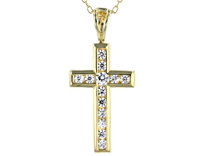 White Cubic Zirconia 18K Yellow Gold Over Sterling Silver Cross Pendant With Chain 0.59ctw