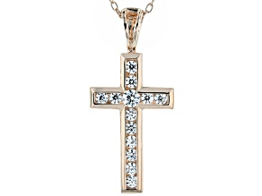 White Cubic Zirconia 18K Rose Gold Over Sterling Silver Cross Pendant With Chain 0.59ctw