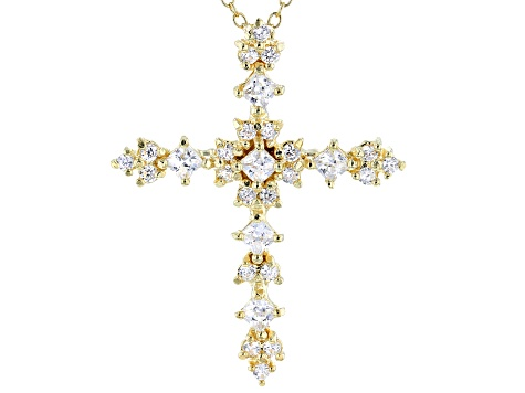 White Cubic Zirconia 18K Yellow Gold Over Sterling Silver Cross Pendant With Chain 1.42ctw
