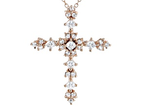 White Cubic Zirconia 18K Rose Gold Over Sterling Silver Cross Pendant With Chain 1.42ctw