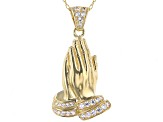 White Cubic Zirconia 18K Yellow Gold Over Sterling Silver Praying Hands Pendant With Chain 0.49ctw