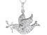 White Cubic Zirconia Rhodium Over Sterling Silver Dove Pendant With Chain 1.24ctw