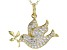 White Cubic Zirconia 18K Yellow Gold Over Sterling Silver Dove Pendant With Chain 1.24ctw