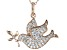 White Cubic Zirconia 18K Rose Gold Over Sterling Silver Dove Pendant With Chain 1.24ctw