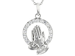 White Cubic Zirconia Rhodium Over Sterling Silver Praying Hands Pendant With Chain 0.99ctw