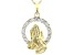 White Cubic Zirconia 18K Yellow Gold Over Sterling Silver Praying Hands Pendant With Chain 0.99ctw