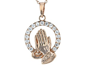 White Cubic Zirconia 18K Rose Gold Over Sterling Silver Praying Hands Pendant With Chain 0.99ctw
