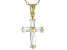 White Cubic Zirconia 18K Yellow Gold Over Sterling Silver Cross Pendant With Chain 0.77ctw